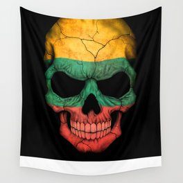 Dark Skull with Flag of Lithuania Wall Tapestry