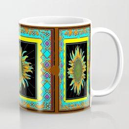 Southwest Style Black-Turquoise Sunflower Pattern Art Coffee Mug