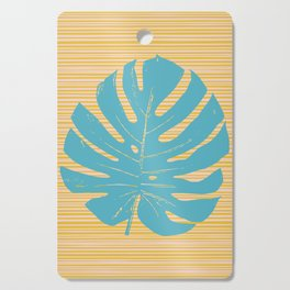 Monstera in Turquoise and Gold Cutting Board