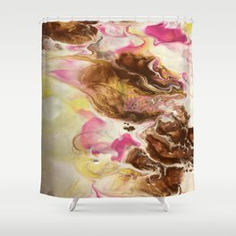 Chocolate with Pink and Yellow Marble Shower Curtain