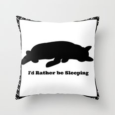 Cat nap w/border Throw Pillow