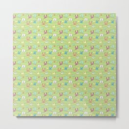 Colorful bunnies on green background Metal Print