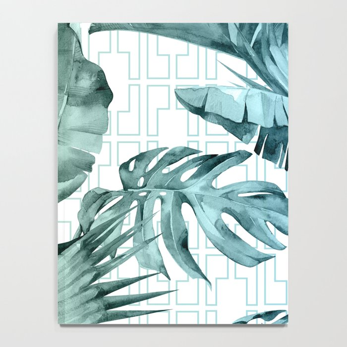 Mod Tropical Palm Leaves in Turquoise Green Blue Gradient Notebook