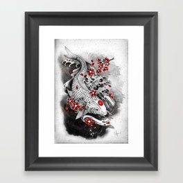 White Koi and sakuras Framed Art Print