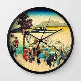 Utagawa Hiroshige - Famous Views Of Naniwa - Imamiya Toka Ebisu Wall Clock