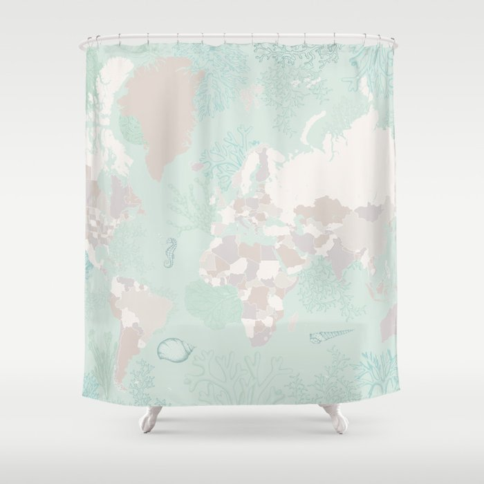 """World map with coral, seaweed and marine creatures, """"Lenore"""" Shower Curtain"""