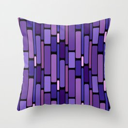 Purple Indigo Retro Blocks Throw Pillow