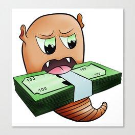 Alien worm eat money Canvas Print