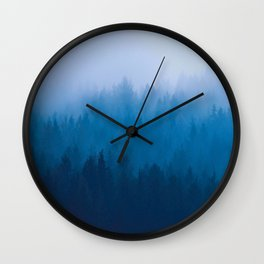 Blue Mountain Pine Trees Blue Ombre Gradient Colorful Landscape photo Wall Clock
