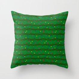 Christmas lights on green Throw Pillow