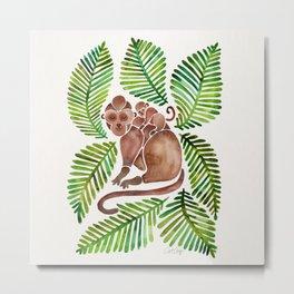 Monkey Cuddles – Tropical Green Metal Print
