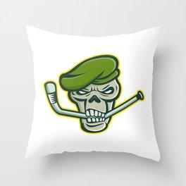 Green Beret Skull Ice Hockey Mascot Throw Pillow