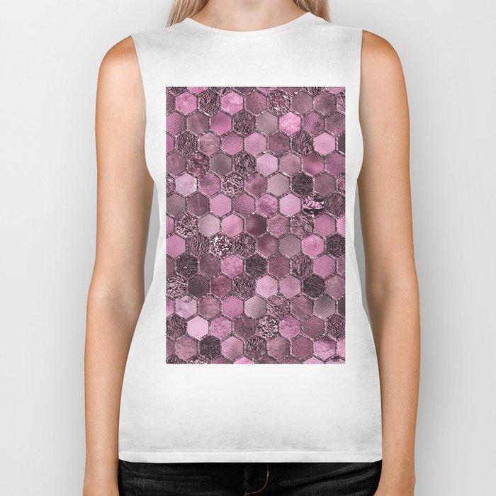 Pink & purple geometric hexagonal elegant & luxury pattern Biker Tank