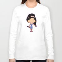 amy hamilton Long Sleeve T-shirts featuring Amy by Sombras Blancas Art & Design