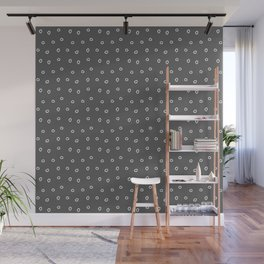 Dark grey background with white minimal hand drawn ring pattern Wall Mural