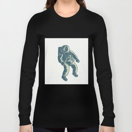 Astronaut Floating in Space Scratchboard Long Sleeve T-shirt