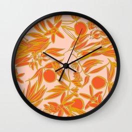 Orange Blossoms on Peach Wall Clock