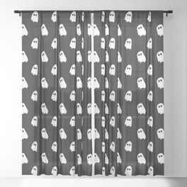 Black and White Ghosts Sheer Curtain