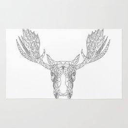 Bull Moose Head Doodle Rug