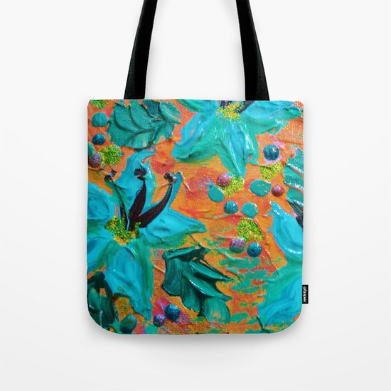 BLOOMING BEAUTIFUL 2 - Modern Abstract Acrylic Tropical Floral Painting, Home Decor Gift for Her Tote Bag