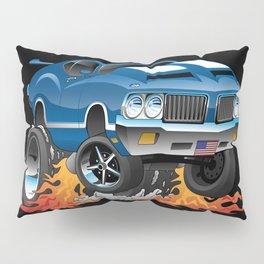 Classic Seventies American Muscle Car Hot Rod Cartoon Illustration Pillow Sham
