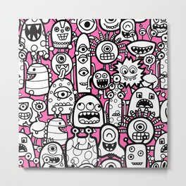 Kids Alien Monster Pattern Metal Print