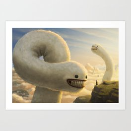 Fuzzy Cloud Worms Art Print