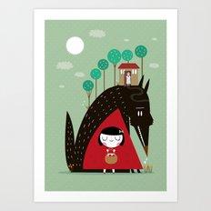 Story telling: little red Art Print