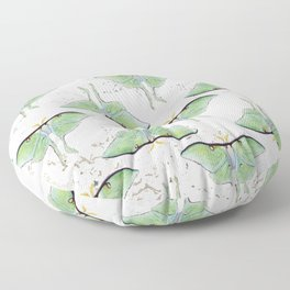Watercolor and Marble Luna Moth Pattern Floor Pillow