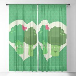 Broccoli in love Sheer Curtain