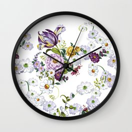 Purple Flowers V Wall Clock