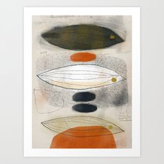 Three Fish with Blue and Speckled Stones Art Print