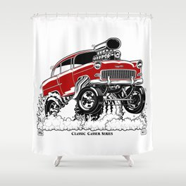 55 Gasser Series REV-2 RED Shower Curtain