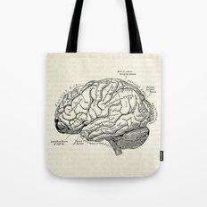 Vintage medical illustration of the human brain Tote Bag