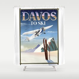 Davos ski poster Shower Curtain