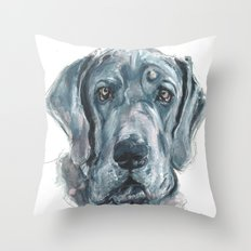 Baden // Blue Great Dane Throw Pillow