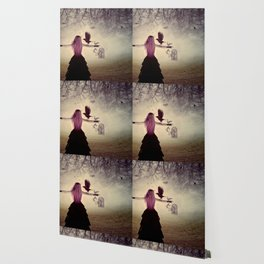 Dark foggy scene with witch woman with crows Wallpaper