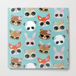 Summer Animals Animals Wearing Sunglasses Blue Metal Print
