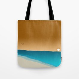 Beach Sunset with birds Tote Bag
