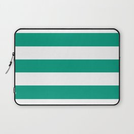 Paolo Veronese green - solid color - white stripes pattern Laptop Sleeve