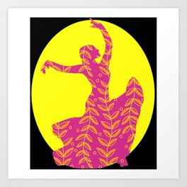 Flamenco Dancer Floral, Sun Art Print