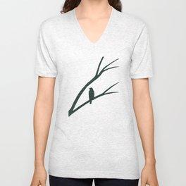 Bird Silhouette Green Pattern Unisex V-Neck