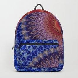 Blue, lilac and orange mandala Backpack