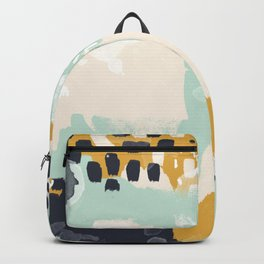 Tinsley - abstract painting minimalist decor nursery dorm college art gold navy Backpack