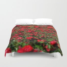 Red roses bunches grow in park Duvet Cover