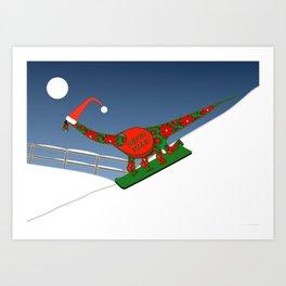 Christmas Dinosaur Snowboarding in a Santa Hat Art Print