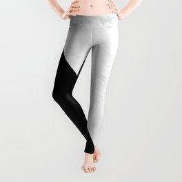 Marble And Black Diagonal Leggings