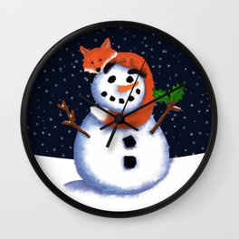 Fox and His Friend Snowman, Happy Hollydays! Wall Clock