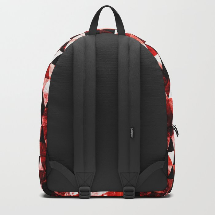 Triangle Geometric Vibrant Red Smoky Galaxy Backpack