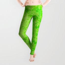 Ghostly alpaca and mandala in Green Flash Leggings